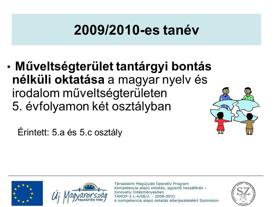 2009/2010-es tanév Műveltségterület tantárgyi bontás nélküli oktatása a magyar nyelv és irodalom műveltségterületen 5. évfolyamon két osztályban.