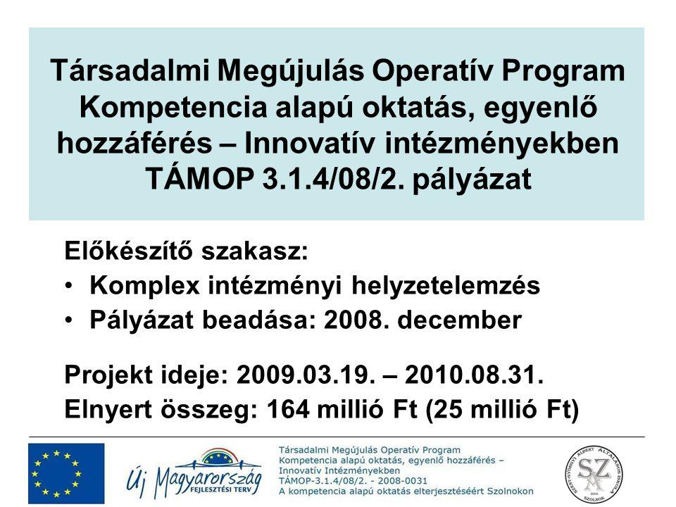 Társadalmi Megújulás Operatív Program Kompetencia alapú oktatás, egyenlő hozzáférés – Innovatív intézményekben TÁMOP 3.1.4/08/2. pályázat