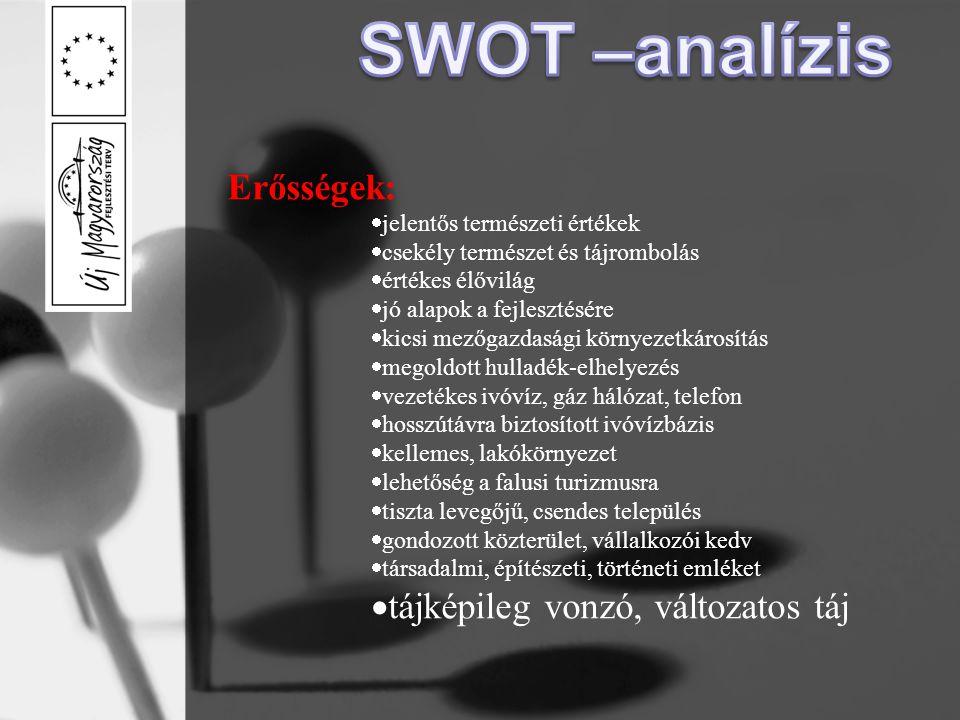 SWOT –analízis Erősségek: tájképileg vonzó, változatos táj