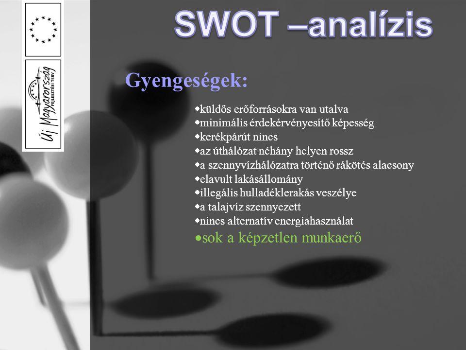SWOT –analízis Gyengeségek: sok a képzetlen munkaerő