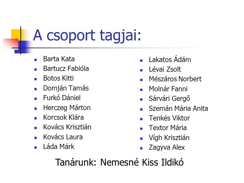 A csoport tagjai: Tanárunk: Nemesné Kiss Ildikó Barta Kata