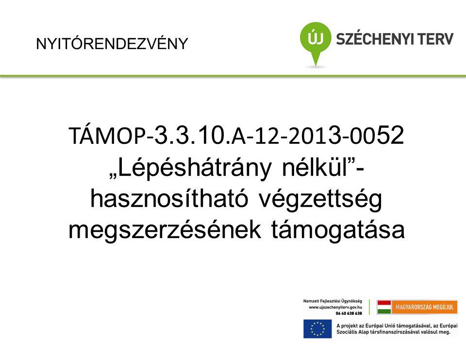 """NYITÓRENDEZVÉNY TÁMOP-3.3.10.A-12-2013-0052 """"Lépéshátrány nélkül - hasznosítható végzettség megszerzésének támogatása."""