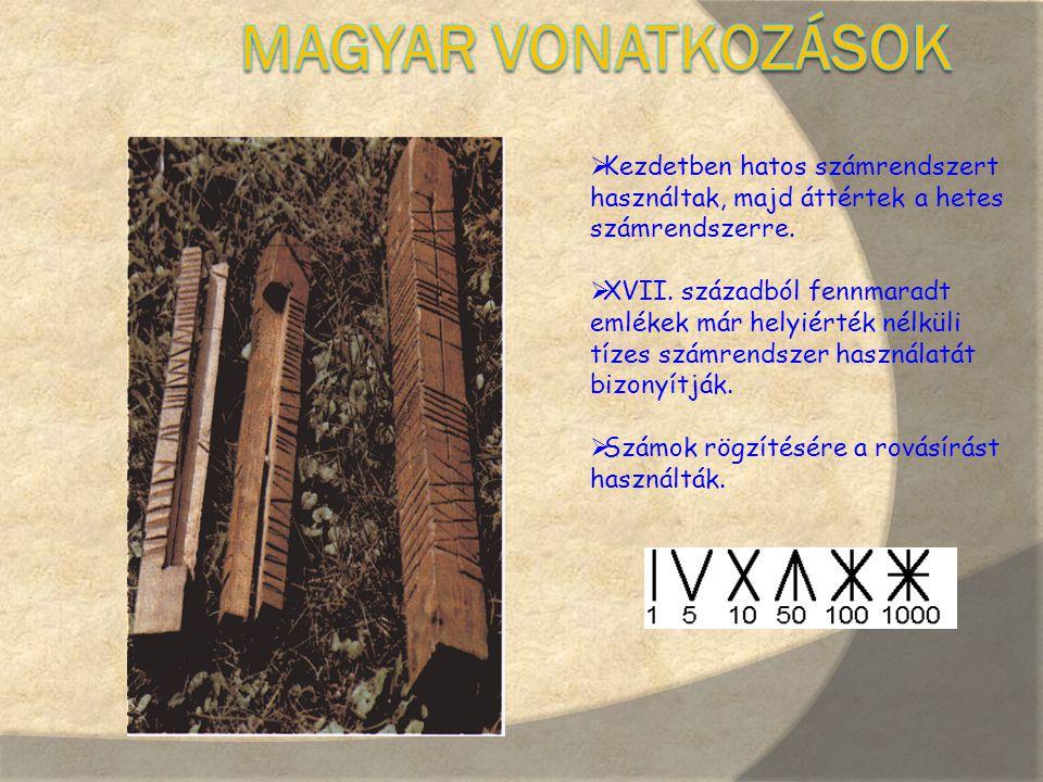 Magyar vonatkozások Kezdetben hatos számrendszert használtak, majd áttértek a hetes számrendszerre.