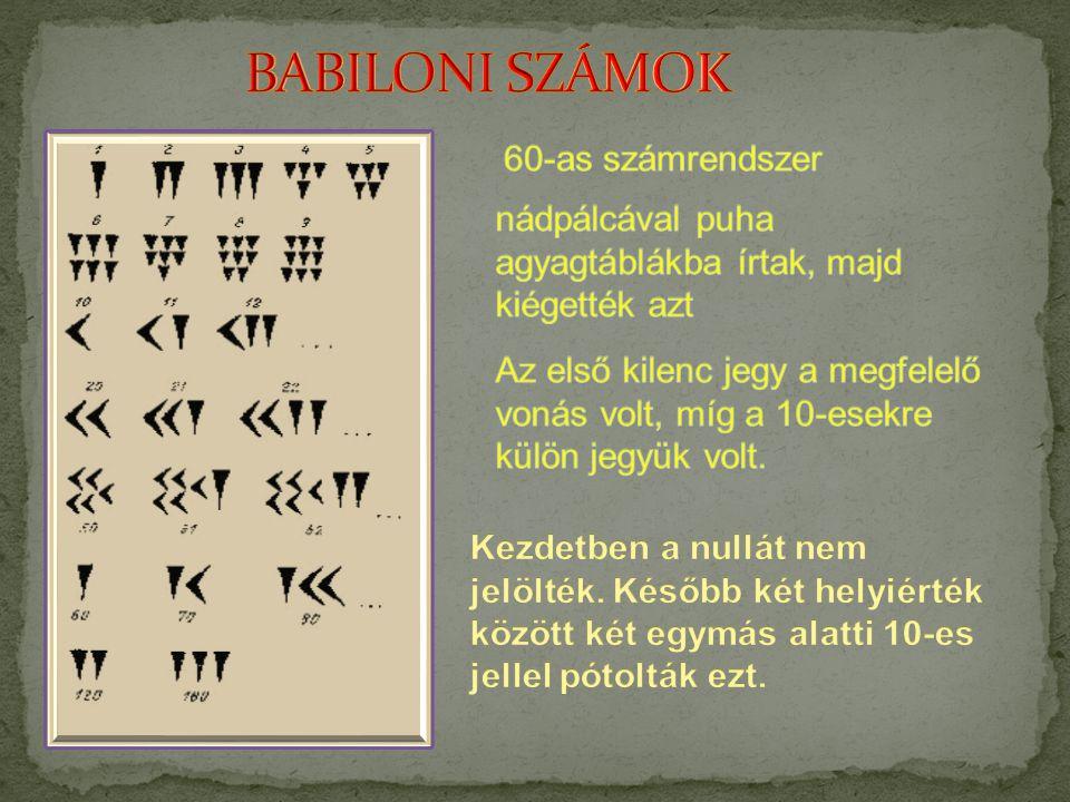 BABILONI SZÁMOK 60-as számrendszer