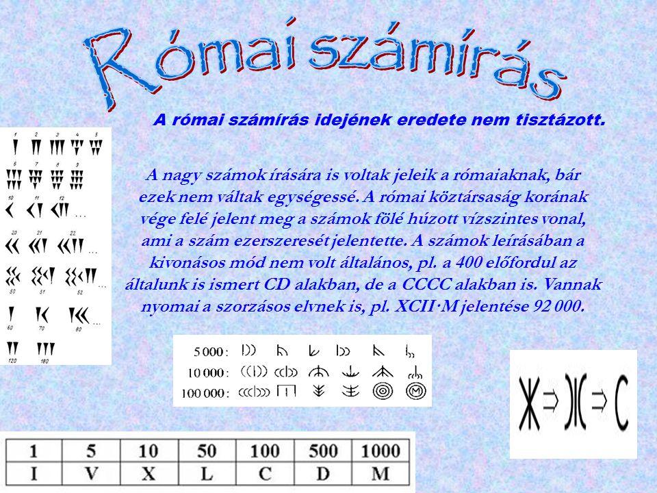Római számírás A római számírás idejének eredete nem tisztázott.