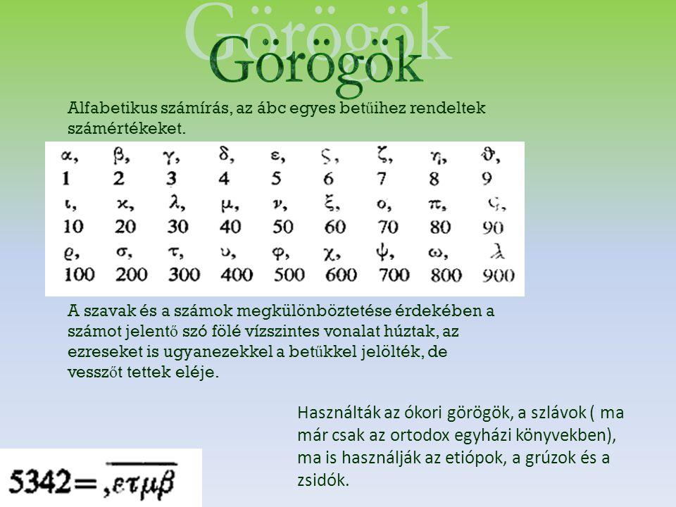 Görögök Alfabetikus számírás, az ábc egyes betűihez rendeltek számértékeket.