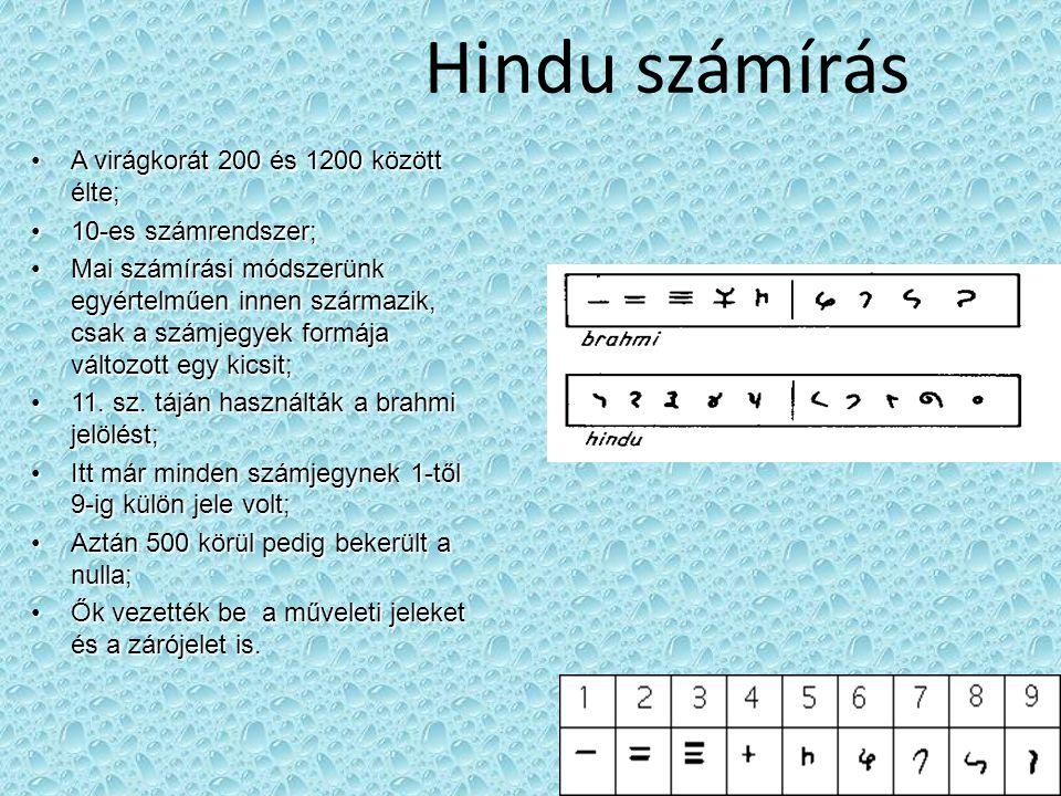 Hindu számírás A virágkorát 200 és 1200 között élte;