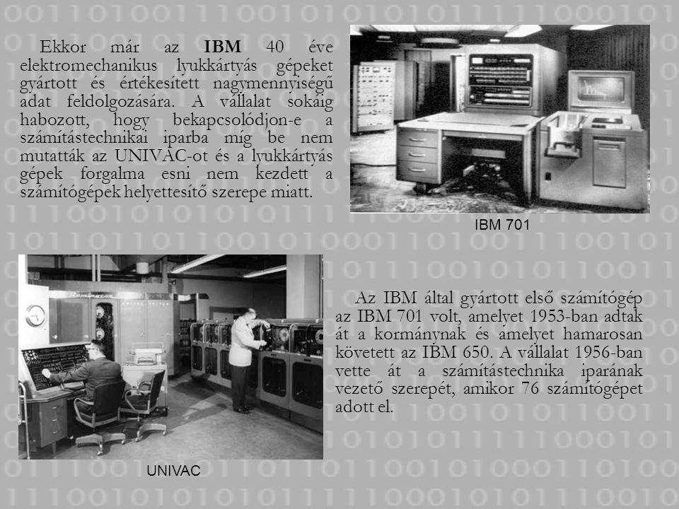 Ekkor már az IBM 40 éve elektromechanikus lyukkártyás gépeket gyártott és értékesített nagymennyiségű adat feldolgozására. A vállalat sokáig habozott, hogy bekapcsolódjon-e a számítástechnikai iparba míg be nem mutatták az UNIVAC-ot és a lyukkártyás gépek forgalma esni nem kezdett a számítógépek helyettesítő szerepe miatt.