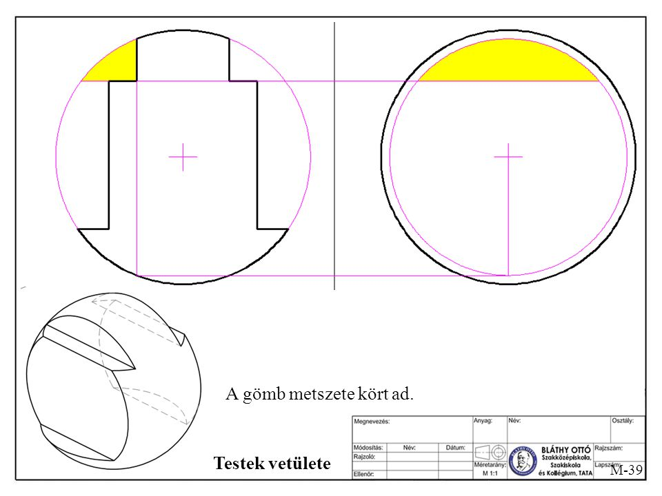 A gömb metszete kört ad. Testek vetülete M-39