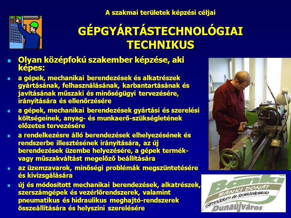 A szakmai területek képzési céljai GÉPGYÁRTÁSTECHNOLÓGIAI TECHNIKUS