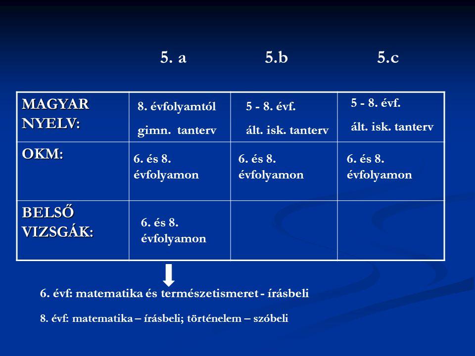 5. a 5.b 5.c MAGYAR NYELV: OKM: BELSŐ VIZSGÁK: 5 - 8. évf.