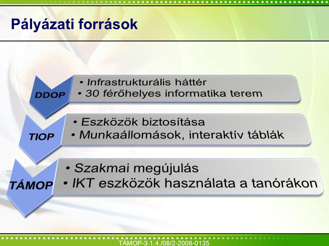 Pályázati források TÁMOP-3.1.4./08/2-2008-0135 DDOP