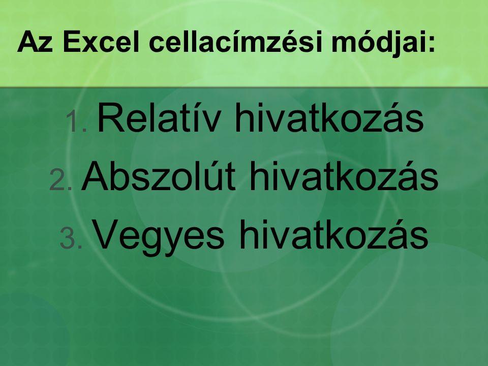 Az Excel cellacímzési módjai: