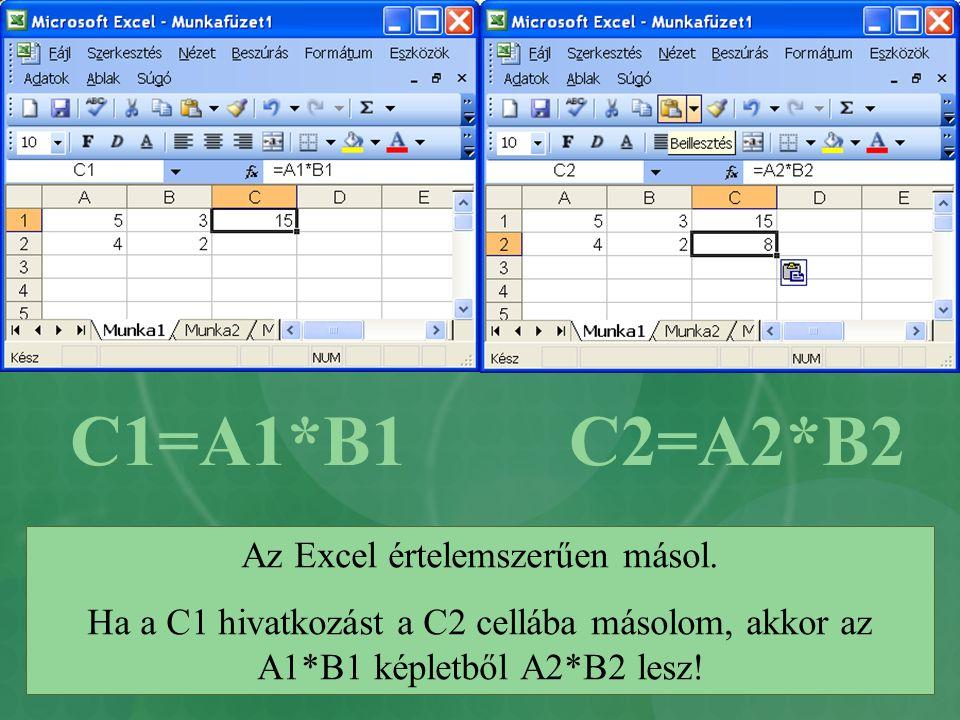 Az Excel értelemszerűen másol.