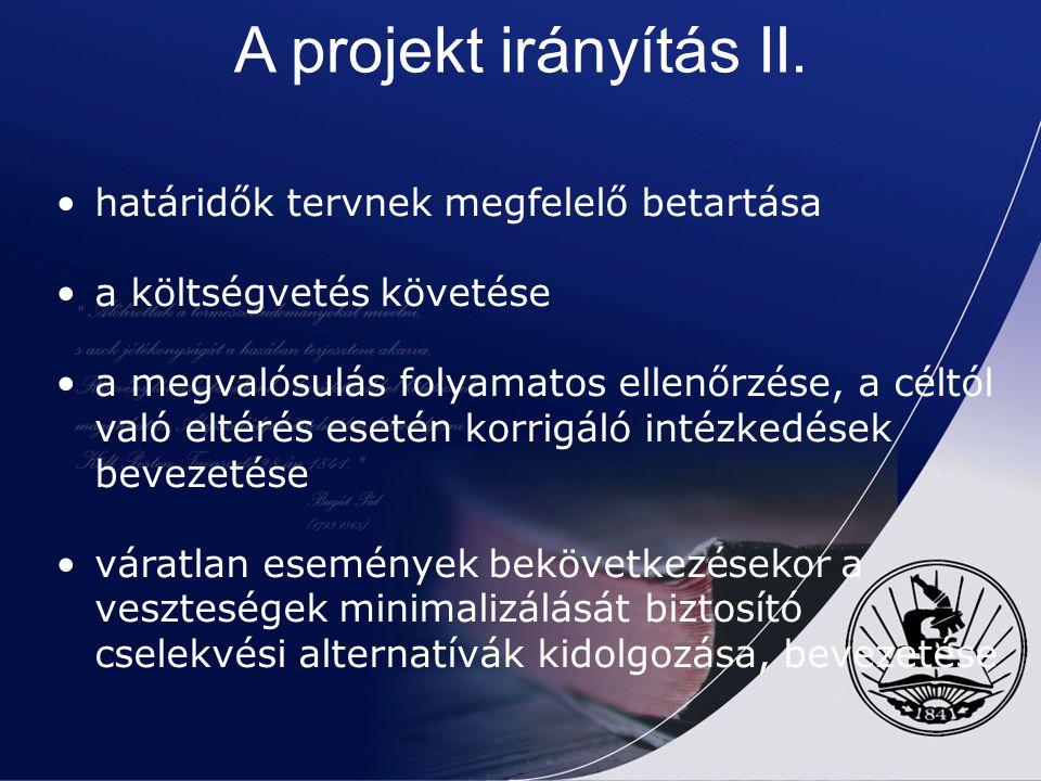 A projekt irányítás II. határidők tervnek megfelelő betartása