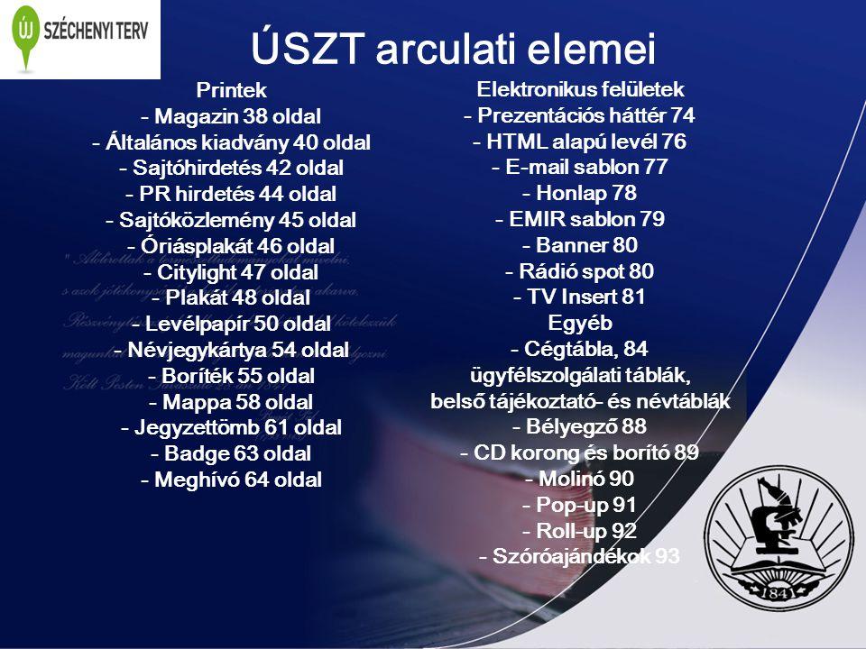 ÚSZT arculati elemei Printek Elektronikus felületek - Magazin 38 oldal