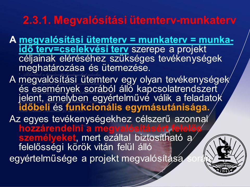 2.3.1. Megvalósítási ütemterv-munkaterv