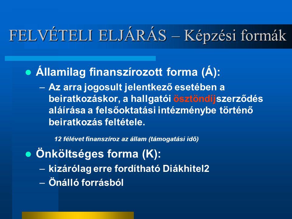 FELVÉTELI ELJÁRÁS – Képzési formák