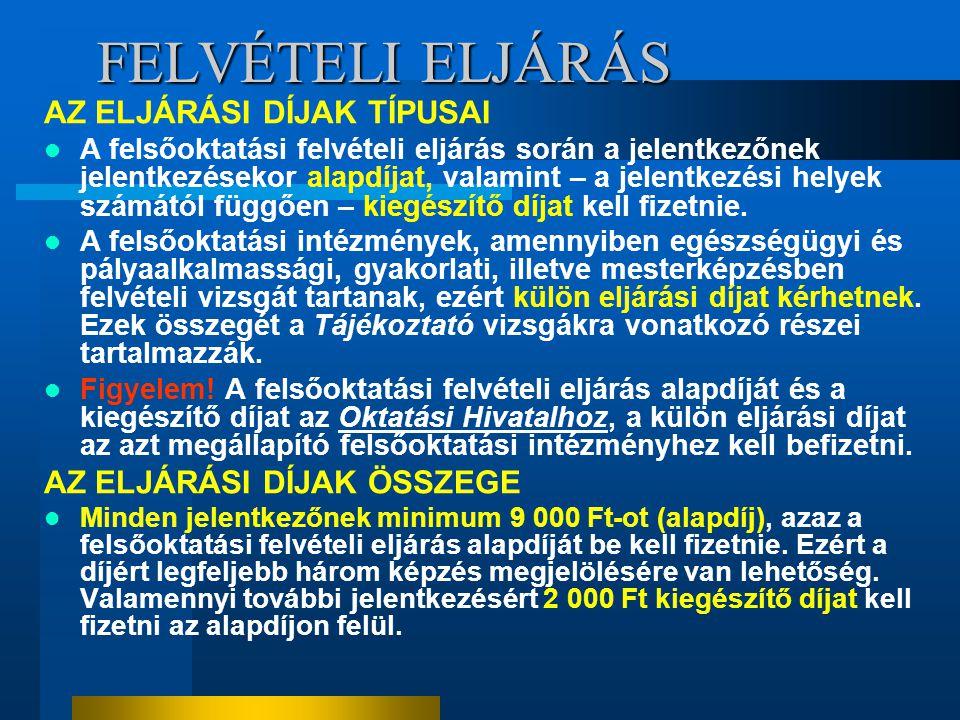 FELVÉTELI ELJÁRÁS AZ ELJÁRÁSI DÍJAK TÍPUSAI AZ ELJÁRÁSI DÍJAK ÖSSZEGE