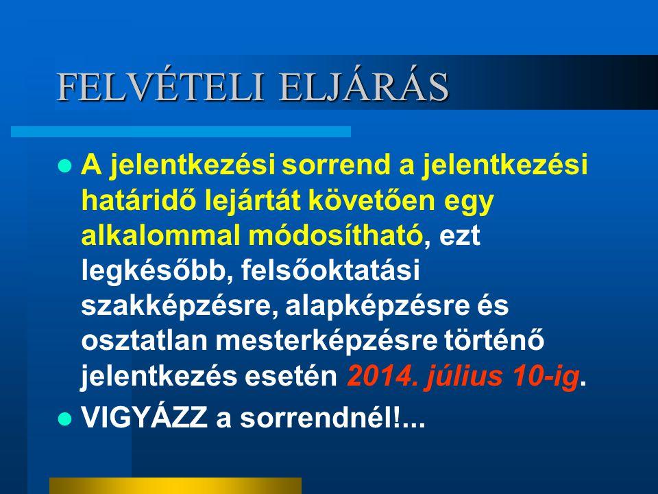 FELVÉTELI ELJÁRÁS