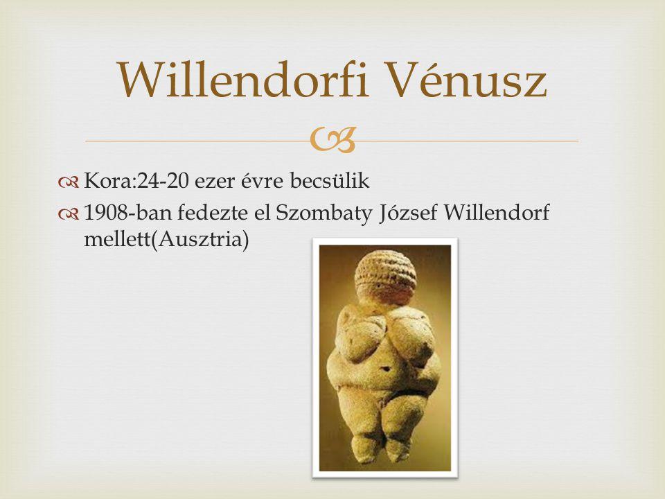 Willendorfi Vénusz Kora:24-20 ezer évre becsülik