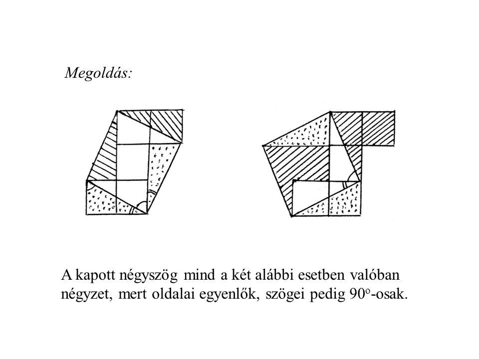 Megoldás: A kapott négyszög mind a két alábbi esetben valóban négyzet, mert oldalai egyenlők, szögei pedig 90o-osak.