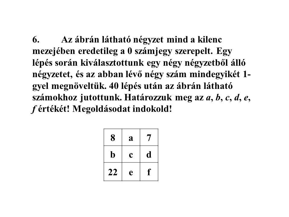 6. Az ábrán látható négyzet mind a kilenc mezejében eredetileg a 0 számjegy szerepelt. Egy lépés során kiválasztottunk egy négy négyzetből álló négyzetet, és az abban lévő négy szám mindegyikét 1-gyel megnöveltük. 40 lépés után az ábrán látható számokhoz jutottunk. Határozzuk meg az a, b, c, d, e, f értékét! Megoldásodat indokold!