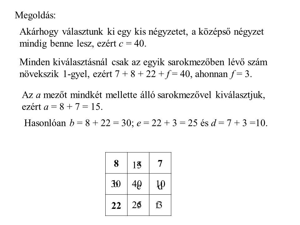 Megoldás: Akárhogy választunk ki egy kis négyzetet, a középső négyzet mindig benne lesz, ezért c = 40.