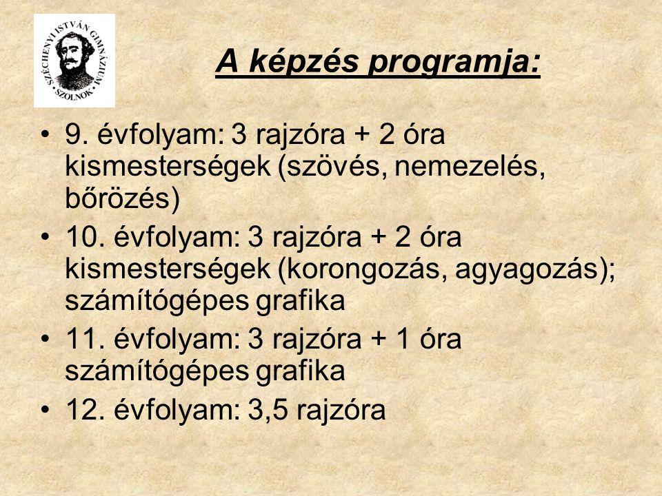 A képzés programja: 9. évfolyam: 3 rajzóra + 2 óra kismesterségek (szövés, nemezelés, bőrözés)