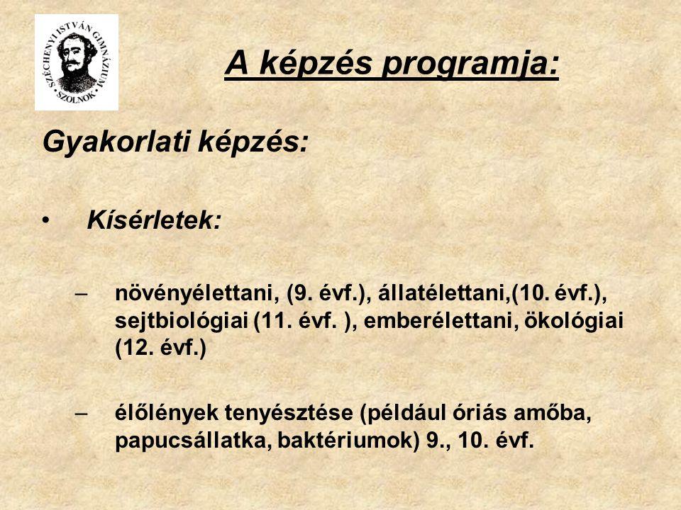 A képzés programja: Gyakorlati képzés: Kísérletek: