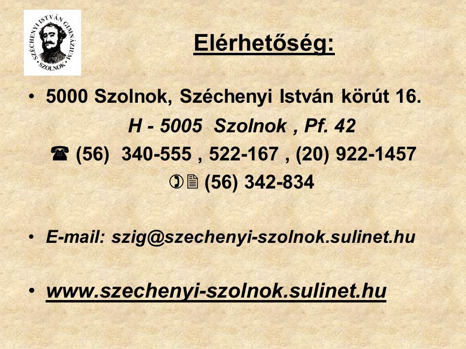 Elérhetőség: H - 5005 Szolnok , Pf. 42
