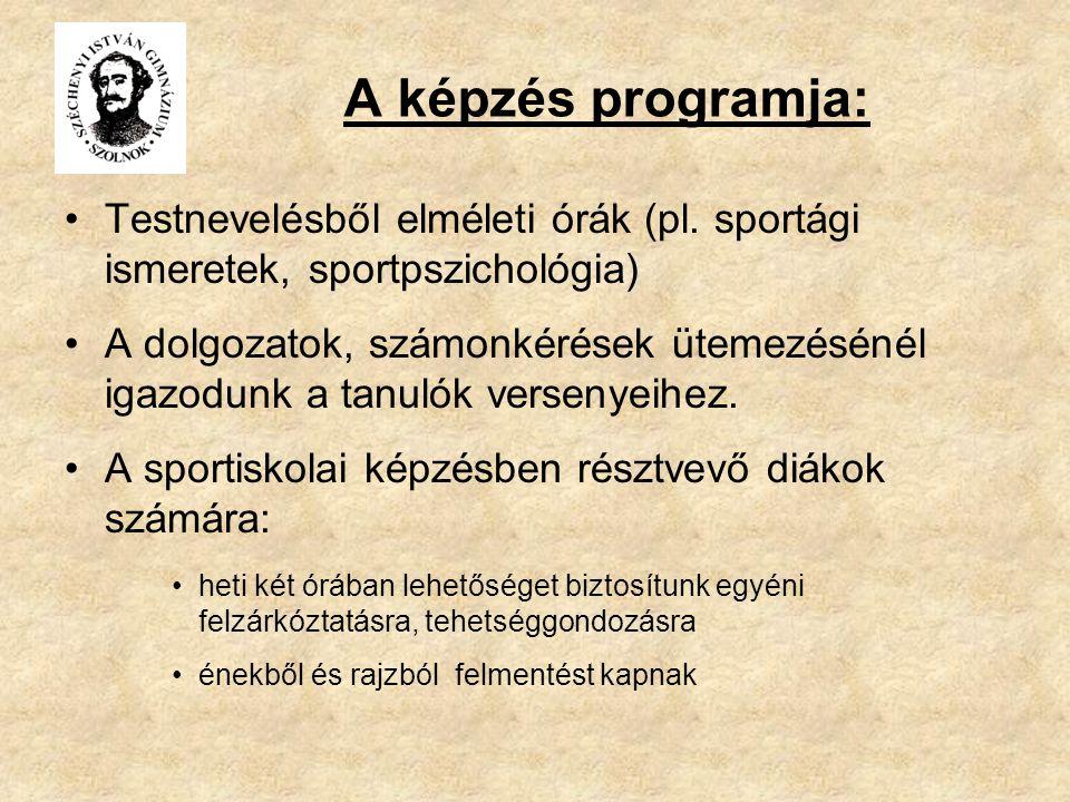A képzés programja: Testnevelésből elméleti órák (pl. sportági ismeretek, sportpszichológia)