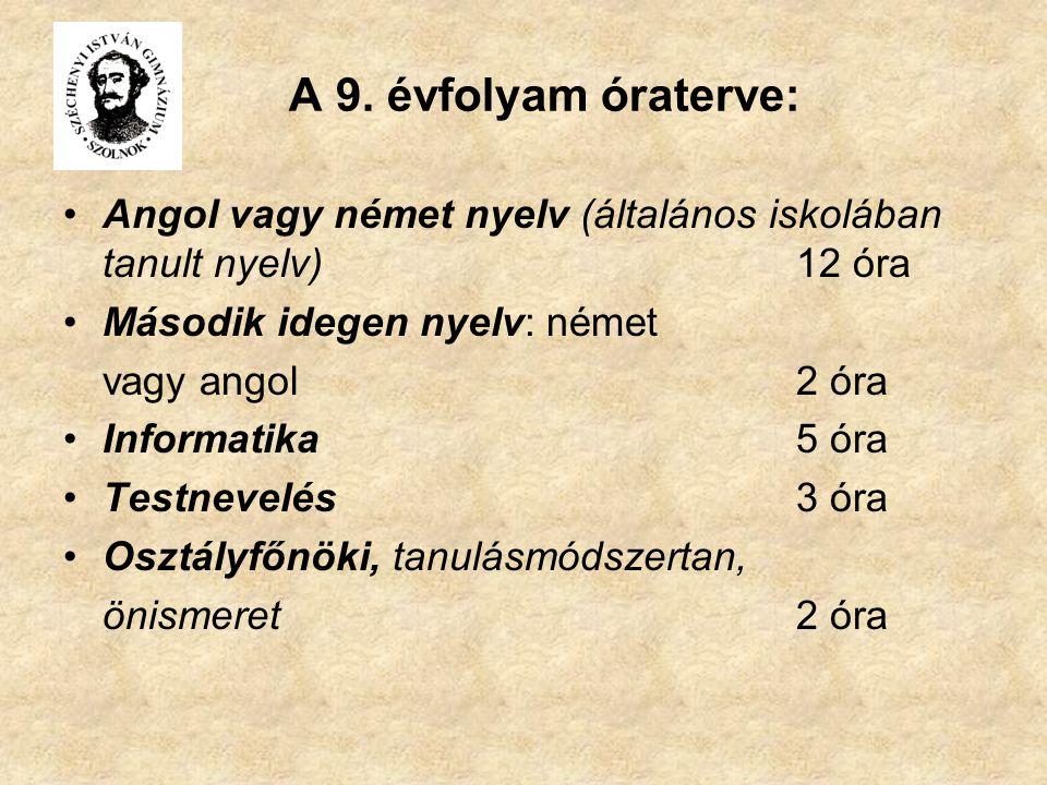A 9. évfolyam óraterve: Angol vagy német nyelv (általános iskolában tanult nyelv) 12 óra. Második idegen nyelv: német.