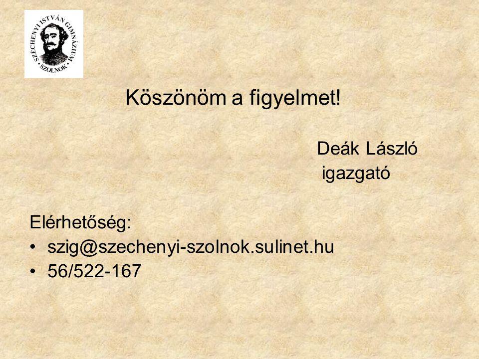 Köszönöm a figyelmet. Deák László. igazgató. Elérhetőség: szig@szechenyi-szolnok.sulinet.hu.