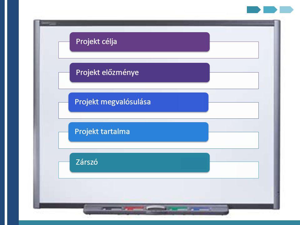 Projekt célja Projekt előzménye Projekt megvalósulása Projekt tartalma Zárszó