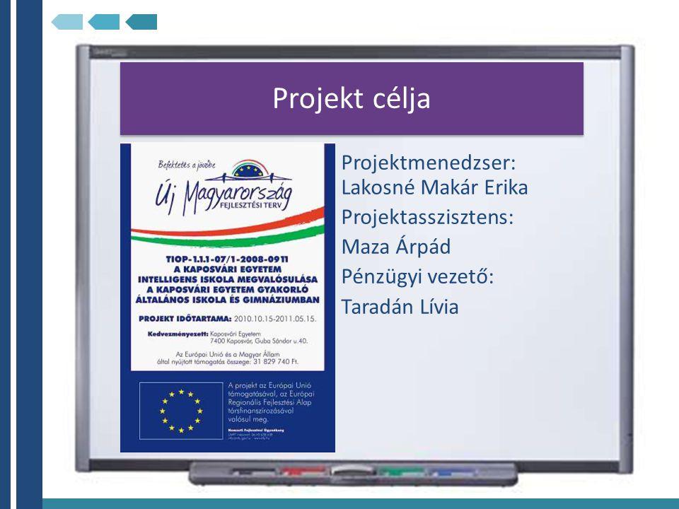 Projekt célja Projektmenedzser: Lakosné Makár Erika