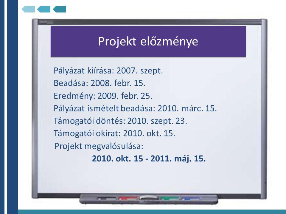 Projekt előzménye Pályázat kiírása: 2007. szept.