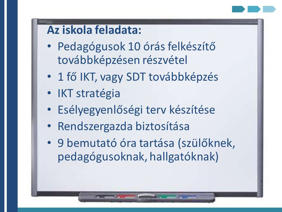 Az iskola feladata: Pedagógusok 10 órás felkészítő továbbképzésen részvétel. 1 fő IKT, vagy SDT továbbképzés.