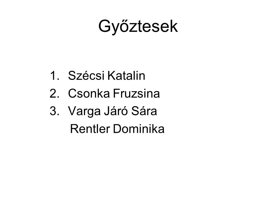 Győztesek Szécsi Katalin Csonka Fruzsina Varga Járó Sára