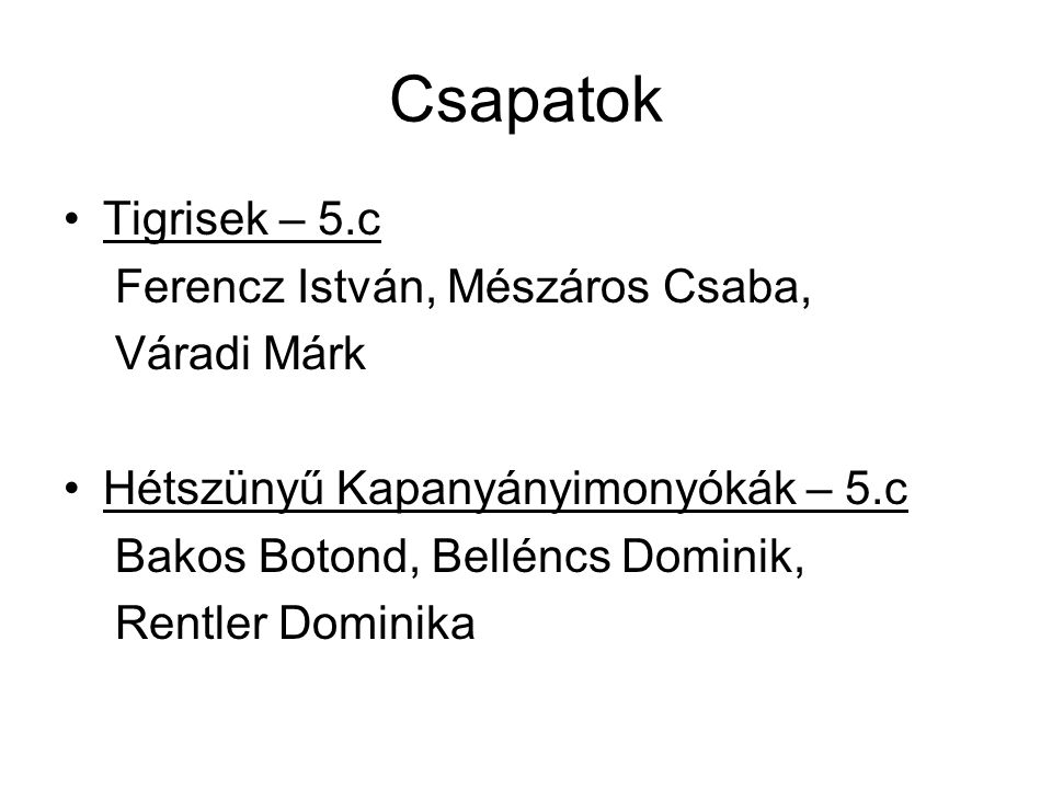 Csapatok Tigrisek – 5.c Ferencz István, Mészáros Csaba, Váradi Márk
