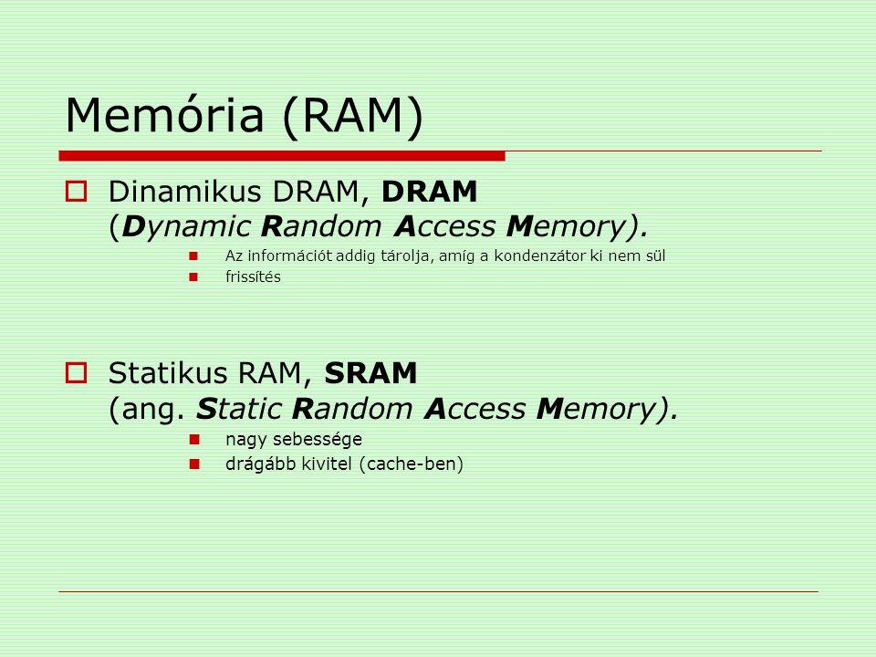 Memória (RAM) Dinamikus DRAM, DRAM (Dynamic Random Access Memory).