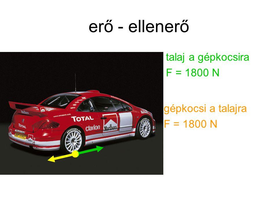 erő - ellenerő talaj a gépkocsira F = 1800 N gépkocsi a talajra