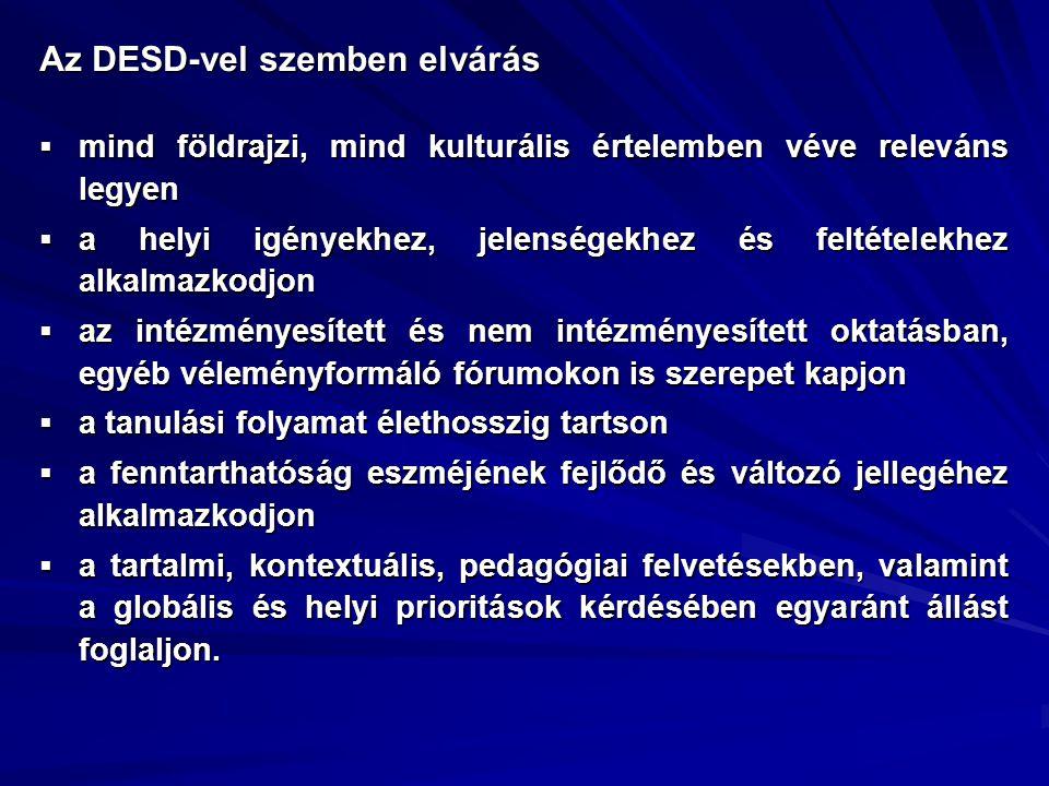 Az DESD-vel szemben elvárás