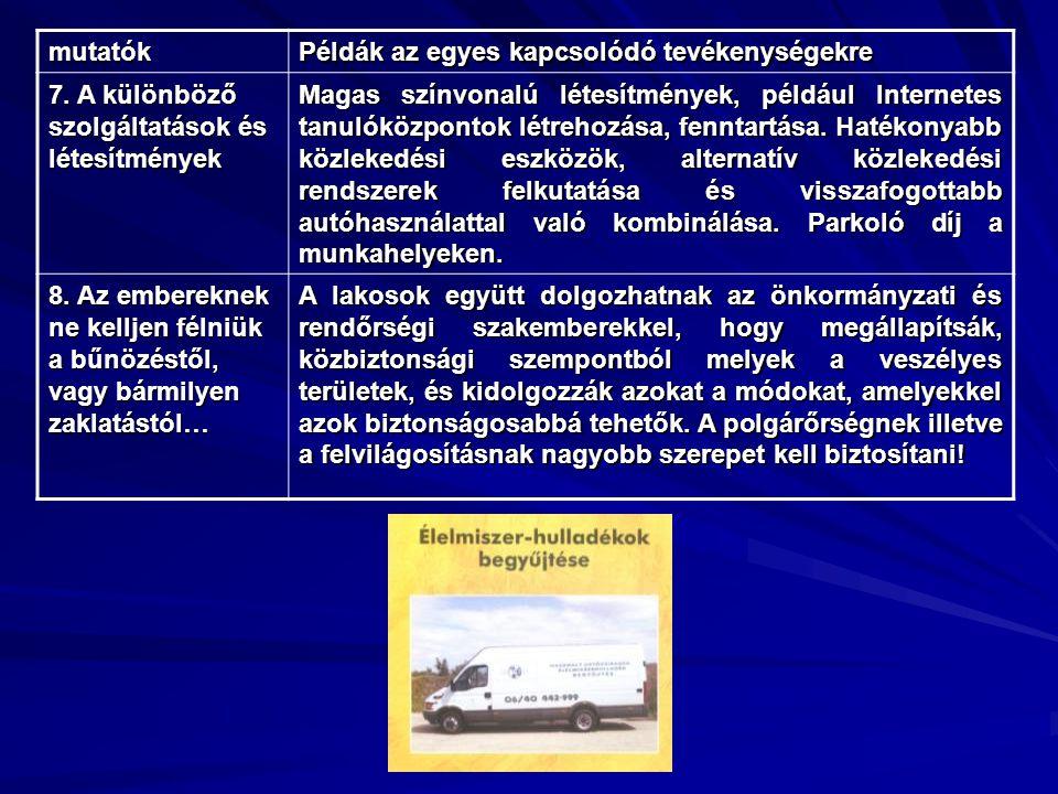 mutatók Példák az egyes kapcsolódó tevékenységekre. 7. A különböző szolgáltatások és létesítmények.