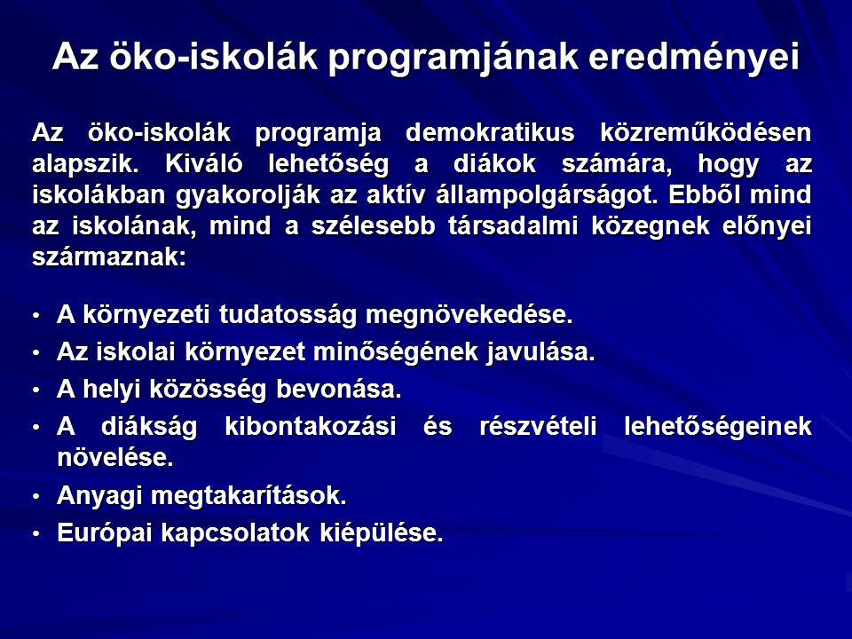 Az öko-iskolák programjának eredményei