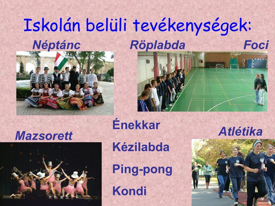 Iskolán belüli tevékenységek: