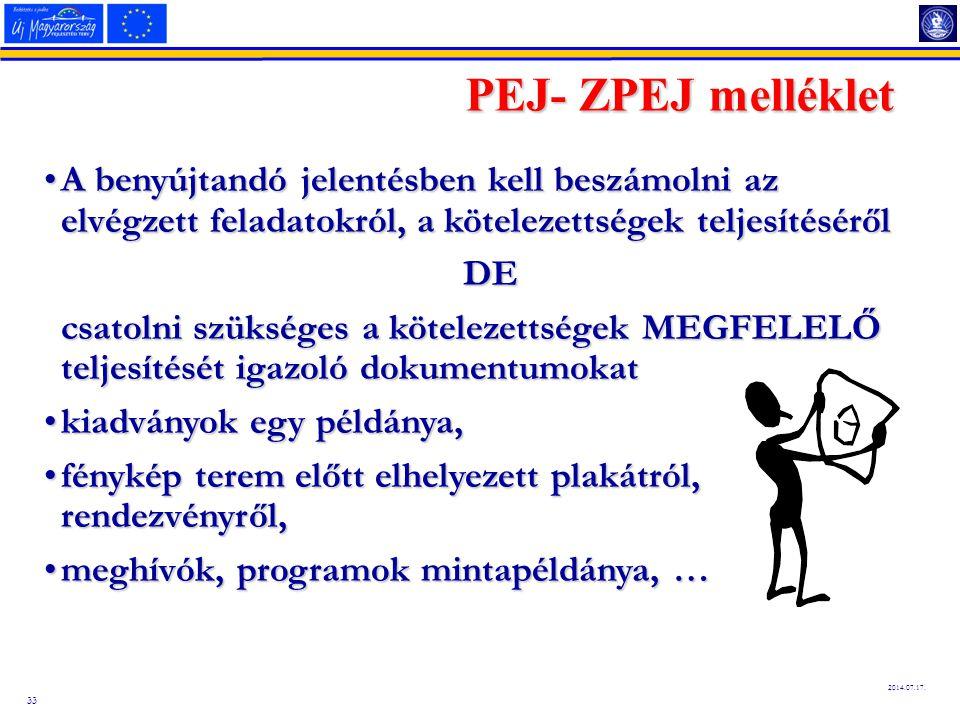 PEJ- ZPEJ melléklet A benyújtandó jelentésben kell beszámolni az elvégzett feladatokról, a kötelezettségek teljesítéséről.