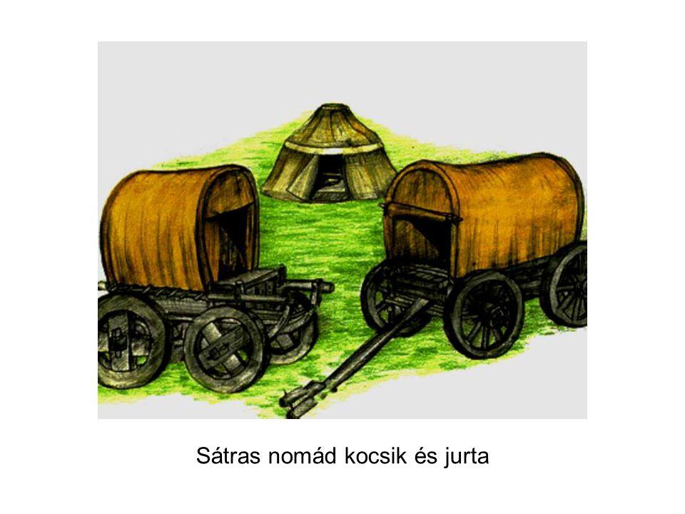 Sátras nomád kocsik és jurta