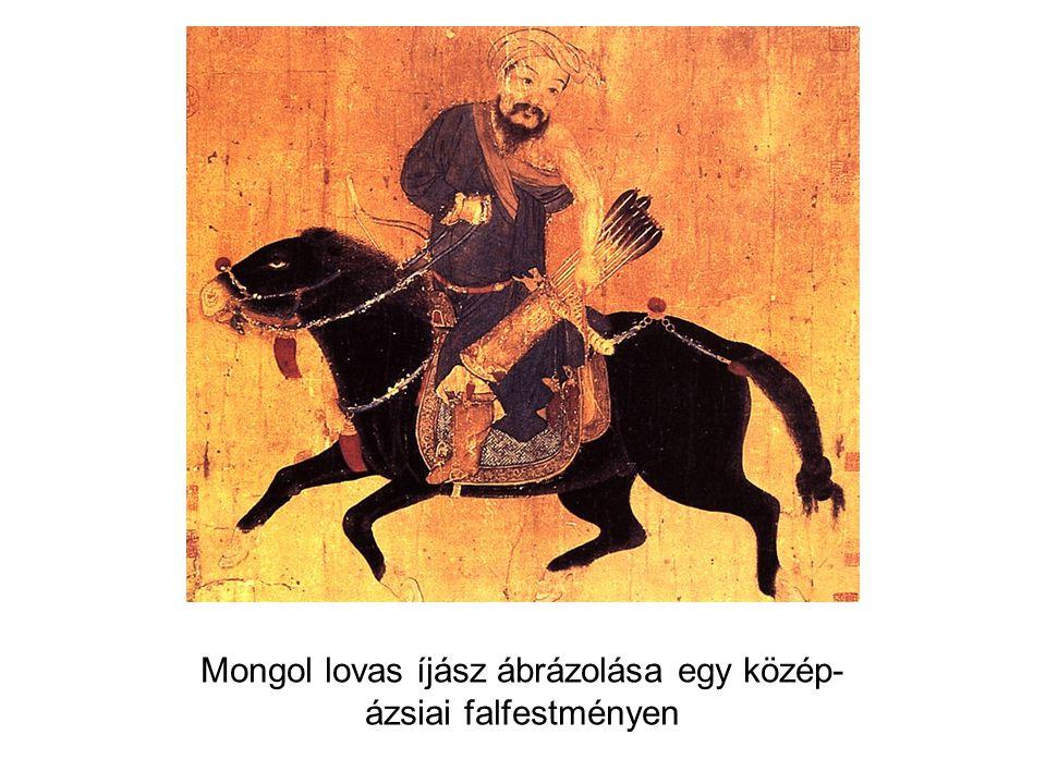 Mongol lovas íjász ábrázolása egy közép-ázsiai falfestményen