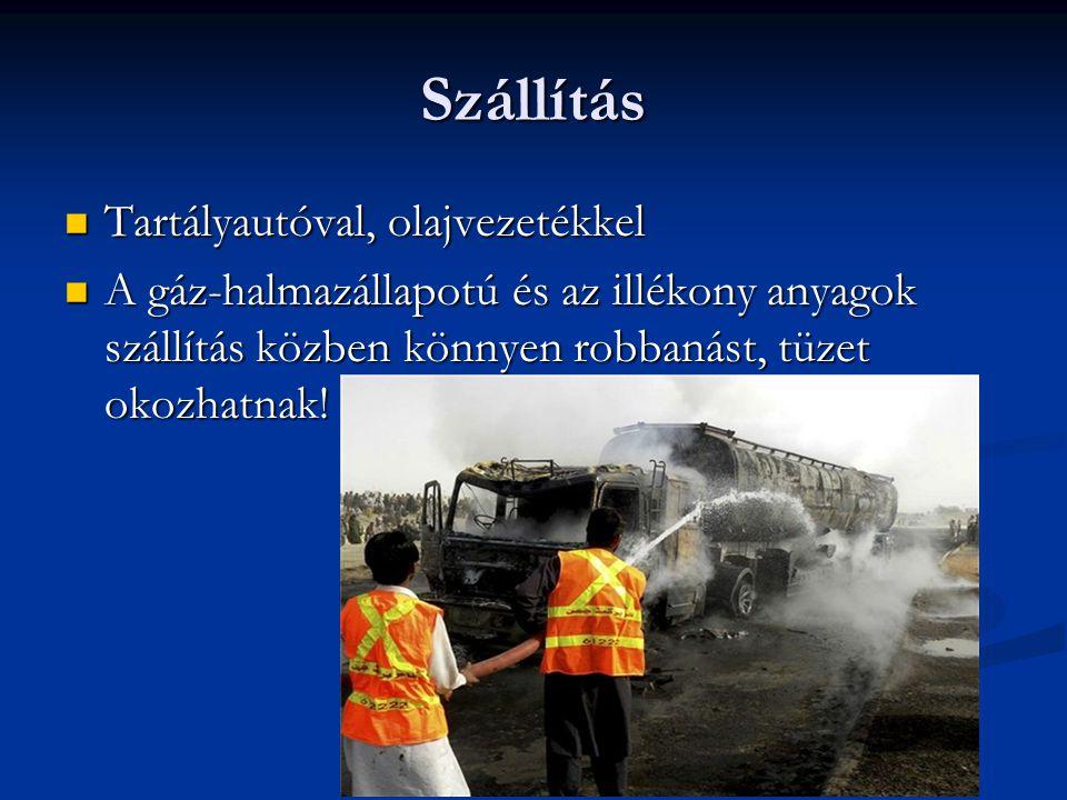 Szállítás Tartályautóval, olajvezetékkel